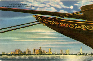 Miami Florida Skyline by Moonlight from Anchored Yacht Vintage Postcard (unused) - Vintage Postcard Boutique