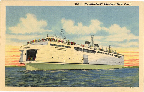 Michigan State Ferry Vacationland Vintage Postcard 1953 - Vintage Postcard Boutique