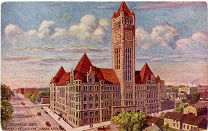 Minneapolis Minnesota City Hall & Court House Vintage Postcard circa 1910 (unused)