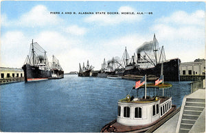 Mobile Alabama State Docks Piers A & B Vintage Postcard (unused) - Vintage Postcard Boutique