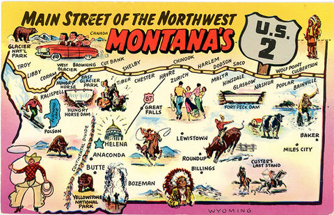 Montana State Map Main Street of Northwest U.S. 2 Vintage Postcard (unused)