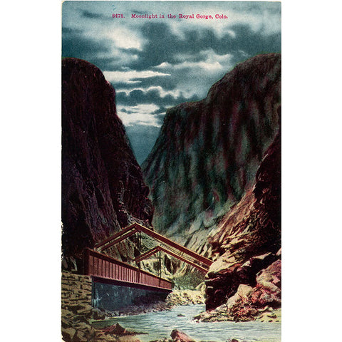 Royal Gorge Bridge in Moonlight Canon City Colorado Vintage Postcard circa 1910 - Vintage Postcard Boutique
