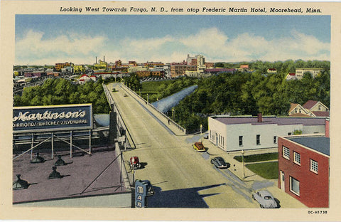 Moorehead Minnesota Looking West Toward Fargo North Dakota Vintage Postcard (unused) - Vintage Postcard Boutique