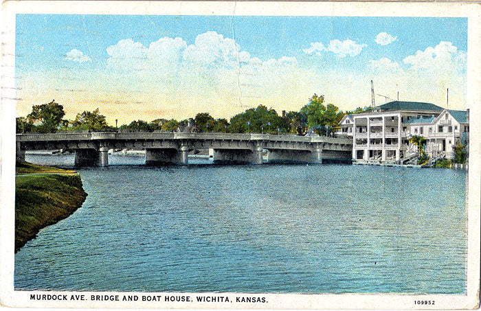 Wichita Kansas Murdock Ave. Bridge & Boathouse Vintage Postcard 1928 - Vintage Postcard Boutique