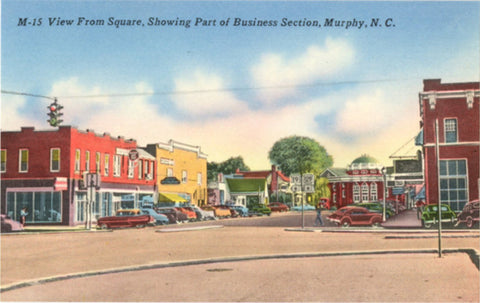 Murphy North Carolina Vintage Postcard Main Street Square (unused) - Vintage Postcard Boutique