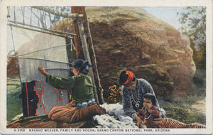 Grand Canyon National Park Arizona Navaho Weaver Vintage Postcard FRED HARVEY - Vintage Postcard Boutique