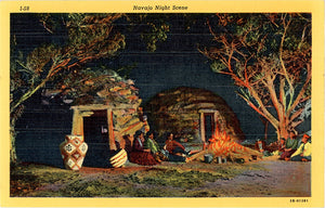 Navajo Indian Native American Night Scene Vintage Postcard - Vintage Postcard Boutique