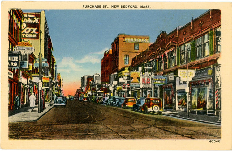 New Bedford Massachusetts Purchase Street Vintage Postcard (unused) - Vintage Postcard Boutique