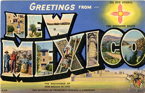 New Mexico Zia Sun Large Letter Vintage Greetings Postcard (unused)