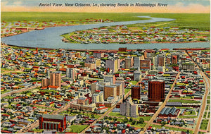 New Orleans Louisiana Aerial Showing Mississippi River Vintage Postcard 1956