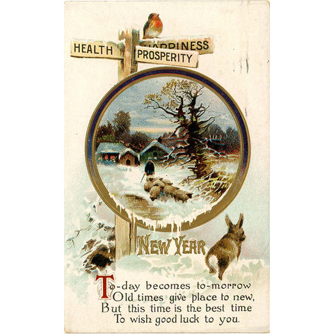 Health Prosperity Happiness Embossed Rabbit & Sheep New Year Vintage Postcard 1910 - Vintage Postcard Boutique