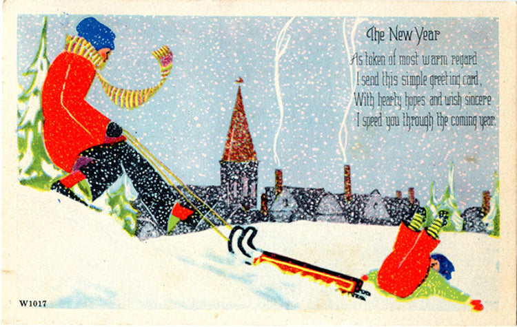 Family Sledding New Year Greetings Vintage Postcard 1947 - Vintage Postcard Boutique