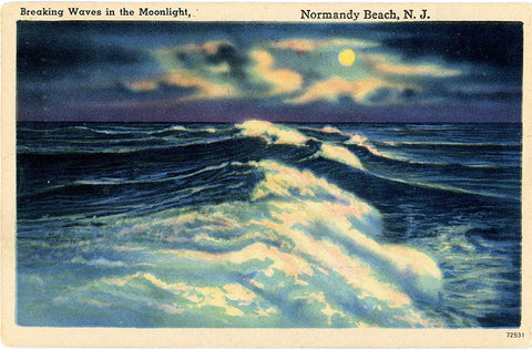 Normandy Beach New Jersey Breaking Waves in Moonlight Vintage Postcard 1952