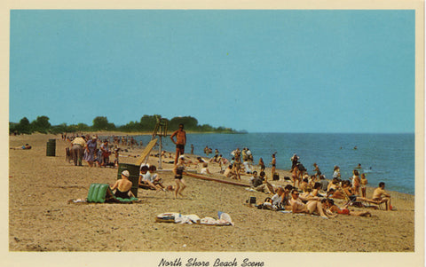 Lake Michigan Beach Scene Along North Shore Vintage Postcard - circa 1950s (unused) - Vintage Postcard Boutique