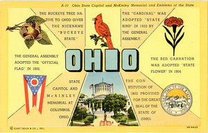 Ohio State Emblems Vintage Greeting Postcard (unused)