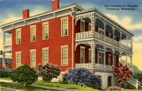 Old Confederate Hospital Vicksburg Mississippi Vintage Postcard (unused)