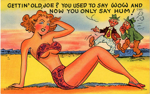 Getting Old Joe? Sexy Woman in Bikini on Beach Vintage Comic Postcard (unused) - Vintage Postcard Boutique