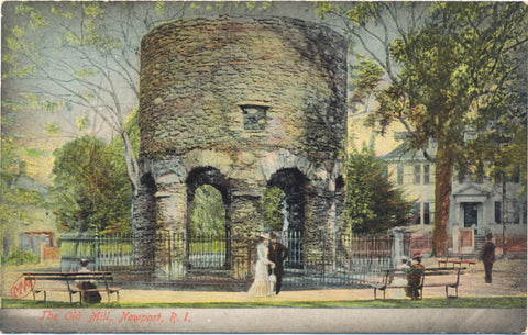 Newport Rhode Island Old Mill Vintage Postcard circa 1910 (unused) - Vintage Postcard Boutique