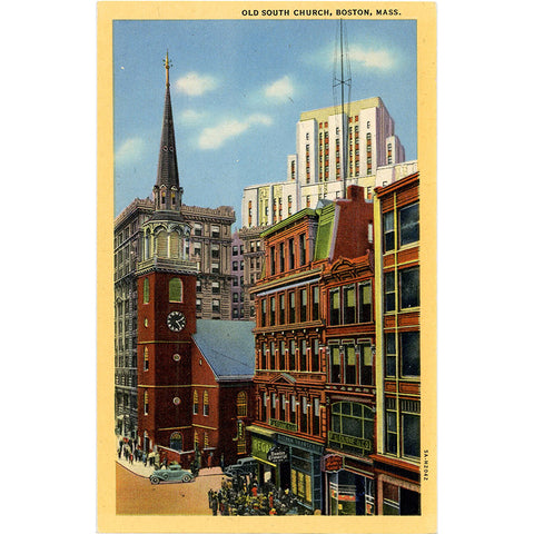 Boston Massachusetts Old South Church Vintage Postcard (unused) - Vintage Postcard Boutique