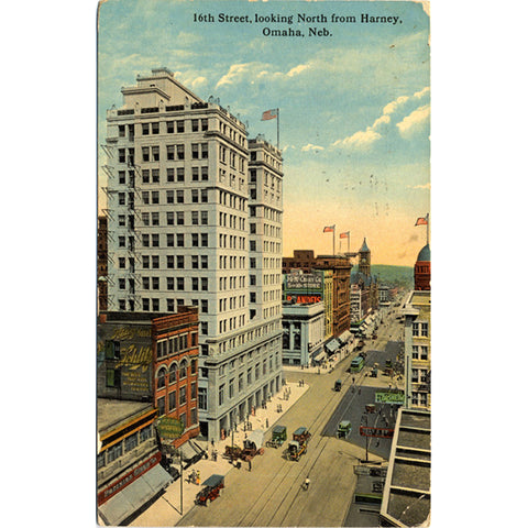Omaha Nebraska Downtown 16th Street North from Harney Vintage Postcard 1917