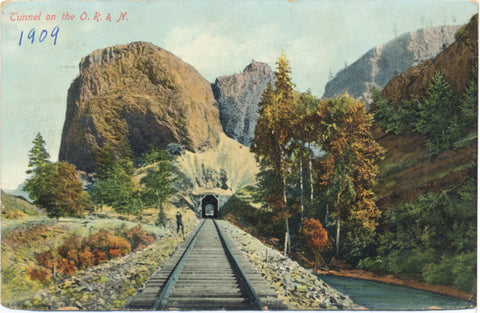 Oregon Tunnel on O. R. & N. Railroad Vintage Postcard 1909 - Vintage Postcard Boutique