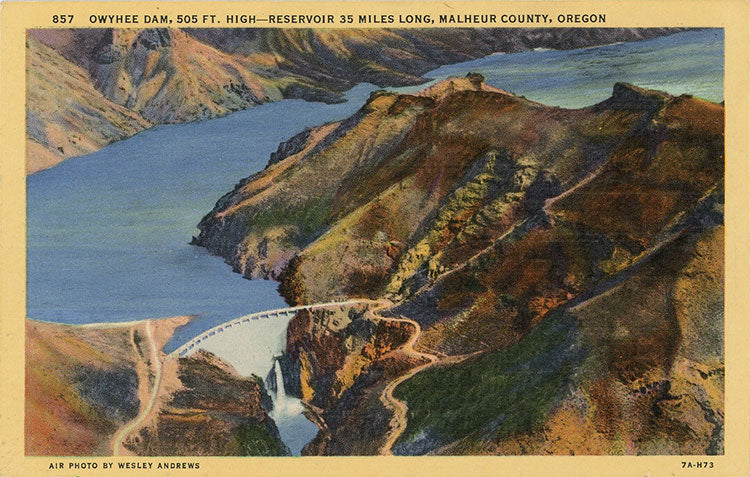 Owyhee Dam & Reservoir Malheur County Oregon Vintage Postcard (unused) - Vintage Postcard Boutique