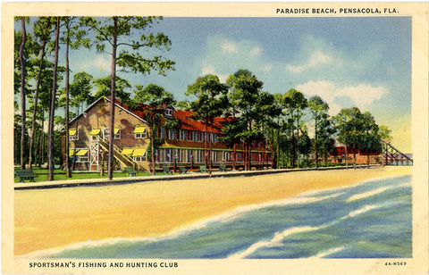 Pensacola Florida Paradise Beach Sportsman's Fishing & Hunting Club Vintage Postcard (unused) - Vintage Postcard Boutique