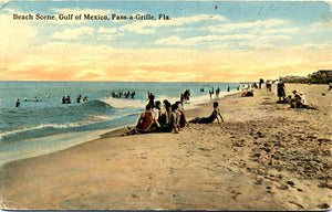 St. Petersburg Florida Pass-A-Grille Beach Scene Gulf of Mexico Vintage Postcard 1916