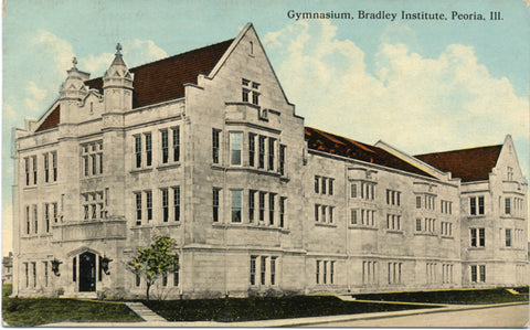 Peoria Illinois Bradley University Institute Gym Vintage Postcard 1913 - Vintage Postcard Boutique