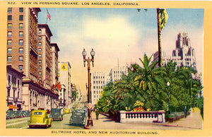 Biltmore Hotel & New Auditorium Building Pershing Square Los Angeles California Vintage Postcard (unused) - Vintage Postcard Boutique