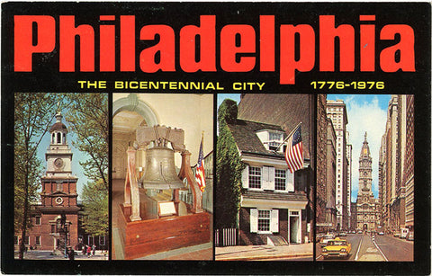 Philadelphia Large Letter Multi View Pennsylvania Vintage Postcard - Bicentennial City 1976