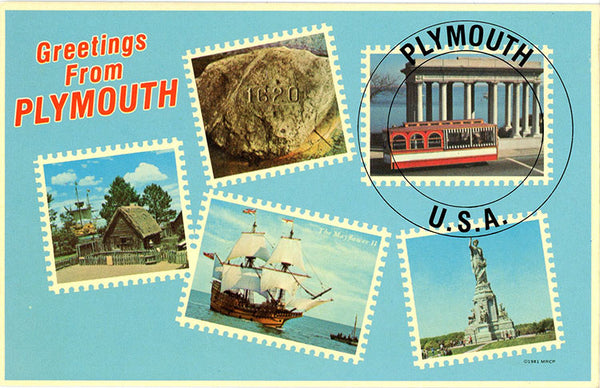Plymouth Rock Greetings Postage Stamps Vintage Massachusetts Postcard (unused) - Vintage Postcard Boutique
