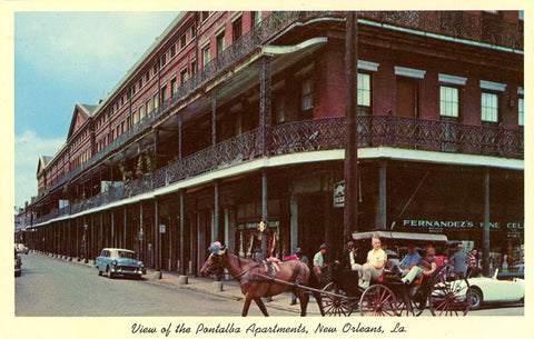 New Orleans Louisiana Pontalba Apartments Vintage Postcard circa 1950s (unused)