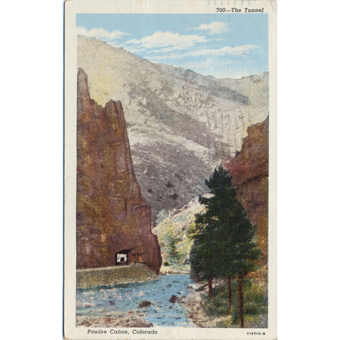 Poudre Canon Colorado Tunnel Near Ft. Collins Vintage Postcard 1942 - Vintage Postcard Boutique