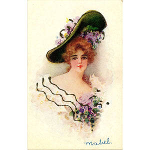 Pretty Lady in Flower Hat Embossed Glitter Vintage Postcard circa 1905 - Vintage Postcard Boutique