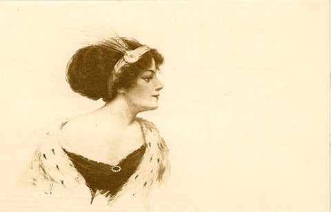 Pretty Lady Art Nouveau Era Vintage Postcard (unused) - Vintage Postcard Boutique