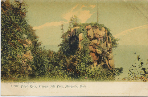 Marquette Michigan Pulpit Rock Presque Island Vintage Postcard - Vintage Postcard Boutique