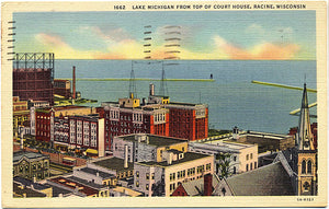 Racine Wisconsin Lake Michigan from Court House Vintage Postcard 1950 - Vintage Postcard Boutique