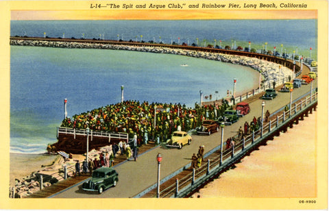 Long Beach California Spit & Argue Club & Rainbow Pier Vintage Postcard (unused) - Vintage Postcard Boutique