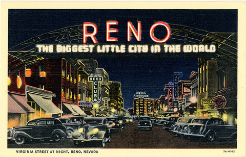 Reno Nevada Virginia Street Biggest City in World at Night Casinos Vintage Postcard (unused)