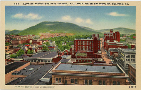 Roanoke Virginia Business Section Mill Mountain Vintage Postcard (unused) - Vintage Postcard Boutique
