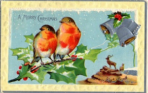 Robins on Holly Embossed Merry Christmas Greetings Vintage Postcard 1913