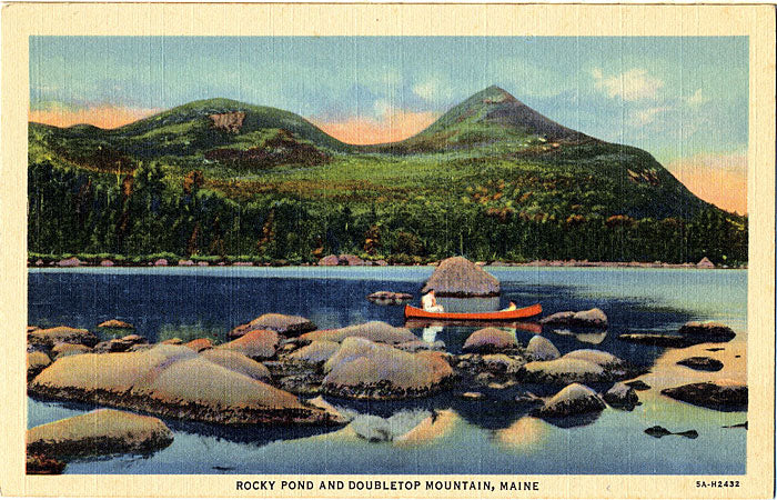Maine Doubletop Mountain and Rocky Pond Vintage Postcard (unused) - Vintage Postcard Boutique