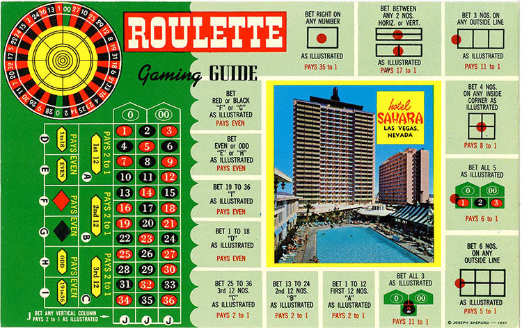 Las Vegas Nevada Hotel Sahara Roulette Gaming Guide Vintage Postcard (unused)