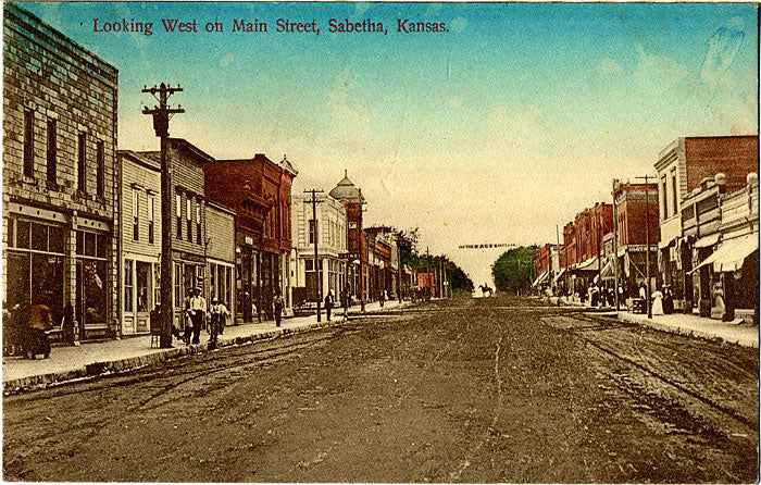 Sabetha Kansas Main Street Looking West Vintage Postcard 1909 - Vintage Postcard Boutique