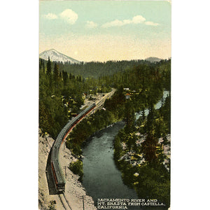 Sacramento River & Mt. Shasta from Castella California Vintage Postcard (unused)