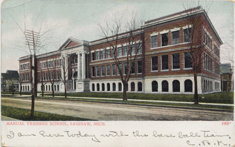 Saginaw Michigan Manual Training School Vintage Postcard 1907 - Vintage Postcard Boutique