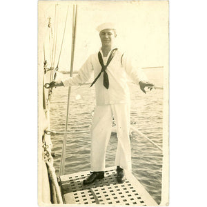 Navy Sailor Portrait on Boat in Service Dress Whites Vintage RPPC Postcard - Vintage Postcard Boutique
