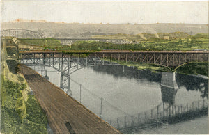 Saint Paul Minnesota Bridges on Mississippi River Vintage Postcard circa 1910 (unused)