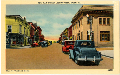Salem Virginia Main Street Looking West Old Autos Vintage Postcard (unused) - Vintage Postcard Boutique